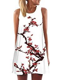 Vintage Boho Dress, Women Summer Sleeveless Beach Printed Short Mini Dress