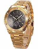 KS Navigator - Men's Automatic Mechanical Watch Date Day Display Golden Stainless Steel Band KS169