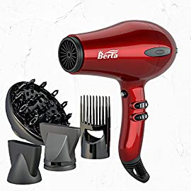 berta 1875w hair dryer - 51XlahD7RlL - BERTA 1875W Hair Dryer Negative Ionic Blow Drye 4 Attachments, 2 Speed and 3 Heat Settings Professional AC motor, Cola Red