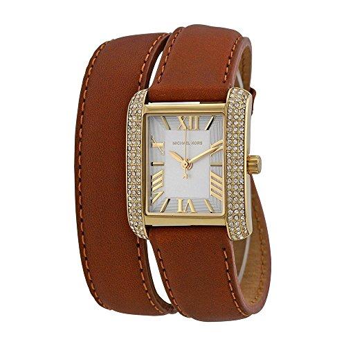 Michael Kors Mini Emery Silver Dial Brown Leather Ladies Watch MK2360