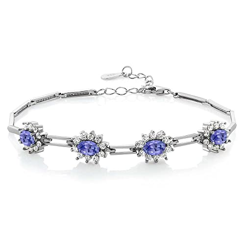 Gem Stone King Blue Tanzanite 925 Sterling Silver Tennis Bracelet 3.80 Ct Oval 7 Inch with 1 Inch Extender