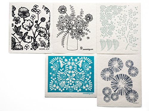 sweetgum Swedish Dishcloths, Set of 5 (Flora)