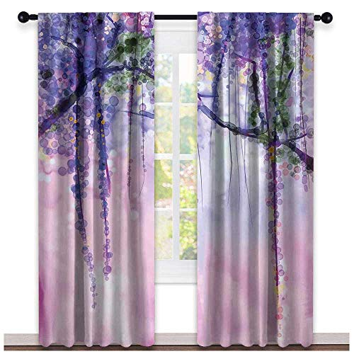 hengshu Watercolor Flower, Curtains x Pattern, Wisteria Flowers on Blurred Background with Dreamy Colors, Curtains in Living Room, W96 x L108 Inch Purple Pale Pink Green