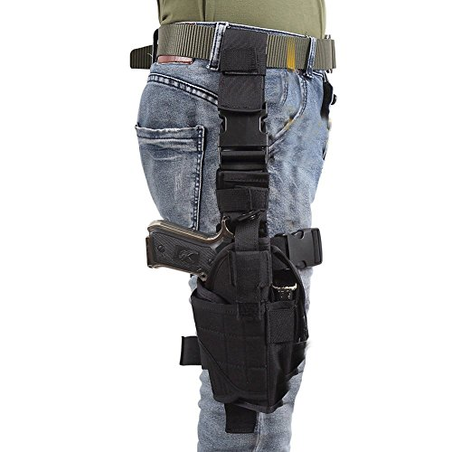Eilin Tactical Gun Holster Thigh Drop Leg Bag Belt Cross Over Nylon Military Pistol Magazine Pouch for Outdoor Hunting Cycling Motorcycle (Black)