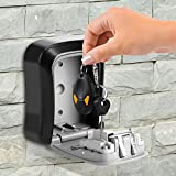 Wall Mount Key Storage Security Lock,Lotus.Flower Key Safe Lock -Wall Mount-4 Digital Combination-Waterproof Key Box for Indoors,Outdoors,Garage,Workplace (Gray)