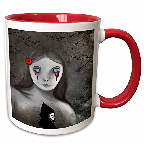 (3dRose Dooni Designs Halloween Designs - Bleeding Eyes Goth Gothic Halloween Design - 15oz Two-Tone Red Mug)