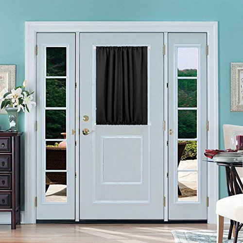 blackout curtian thermal insulated curtain panel french door black 54 x 40 inch ebay. Black Bedroom Furniture Sets. Home Design Ideas