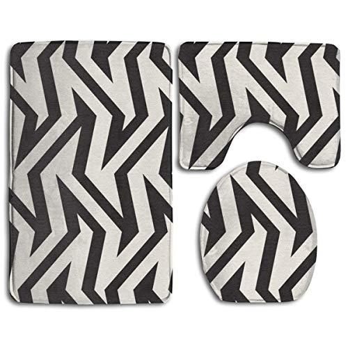 Hucuery Customized Optical Effect of Zigzag Avant-Garde Fringes Fashion Bathroom Carpet Cushion Set 3 Anti-Skid Cushion Bath Cushion + Contour + Toilet Cover from Hucuery