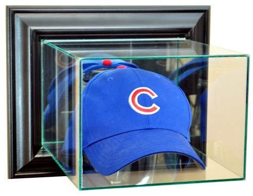 Case Cap Hat Display (Baseball Cap / Hat Wall Mounted Glass Display Case with Black Frame)