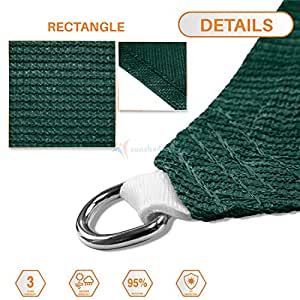 Sunshades Depot 14' x 15' Sun Shade Sail with 6 Inch Hardware Kit - Rctangle Permeable Canopy Dark Green Custom Size Available Commercial Standard