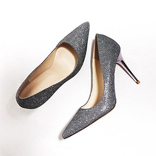 ZHANGYUSEN Lentejuelas, Banquetes de Bodas de Plata Zapatos de Tacón, Zapatos Bridesmaid Puntiagudas Rubio 5cm