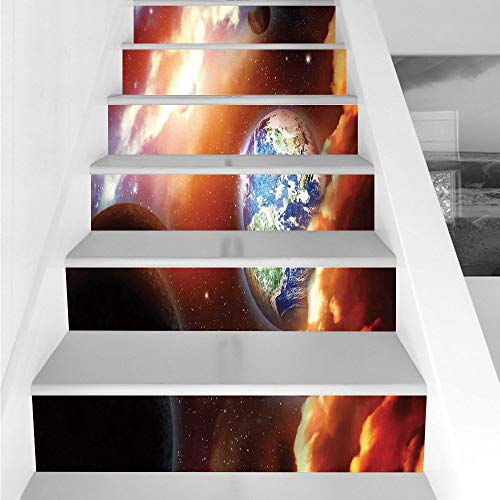 Stair Stickers Wall Stickers,6 PCS Self-Adhesive,Space,Dust Cloud Nebula Stars in Solar System Scene with Planet Earth Pluto and Neptune,Orange Blue,Stair Riser Decal for Living Room, Hall, Kids Room by iPrint