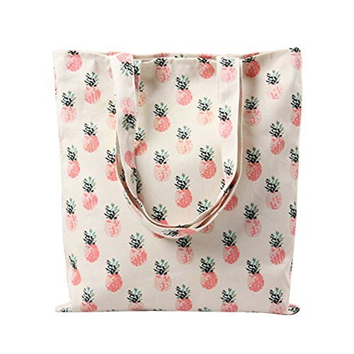 Caixia Women's Tropical Pineapple Patern Canvas Tote Shopping Bag Beige
