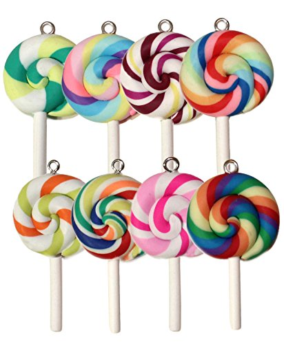 Lucore Colorful Lollipops Clay Pendant Charms - 8 pc set of DIY Craft Supply]()