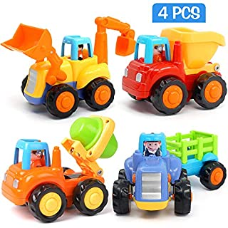 LUDILO Car Toy Trucks for 1-3 Year Old Toddler Toy Cars for 2 Year Old Boys Stinky and Dirty Toys Trucks for Boys Age 2 Small Construction Vehicles Toddler Cars Little People Cars for Kid Car Toy 4Pc