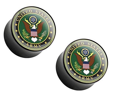 Logo Saddle Plug - BodyJewelryOnline Pair of U.S. Military Logo Print Inlayed Black Acrylic Saddle Plug - 6 Sizes Available (06mm (2GA), Army)