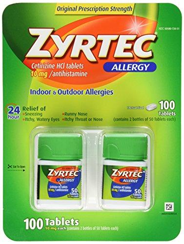 - Zyrtec Cetirizine Hcl/Antihistamine (10 mg), 100 Tablets