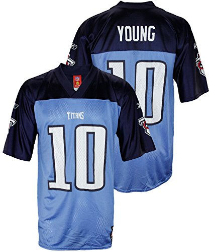 Blue Reebok Nfl Light - Mens NFL Tennessee Titans Vince Young #10 Dazzle Jersey, Light Blue