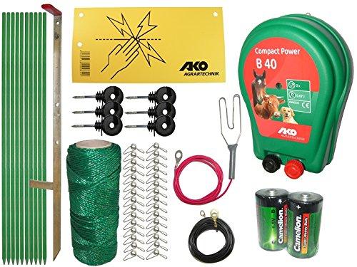Kleintier - Weidezaun Komplett Set, Batteriebetrieb / incl. Poly-Draht 100 m, Höhe 70 cm, zum SONDERPREIS ! :-))