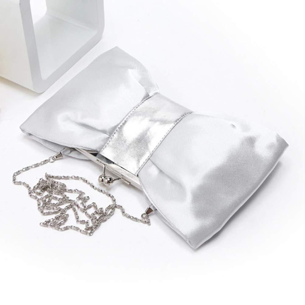 Silver Women Bow PU Fashion Chain Dinner Bag Clutch Bag Diagonal Package Evening Bag Handbag Dinner Bag Ladies Wedding Clutch Female Party Banquet Bag
