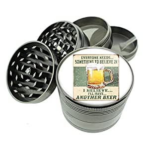 "Titanium 4 PC Magnetic Grinder 2.1"" Hand Mueller D-016 I Believe I'll Have Another Beer Distressed Retro Vintage"