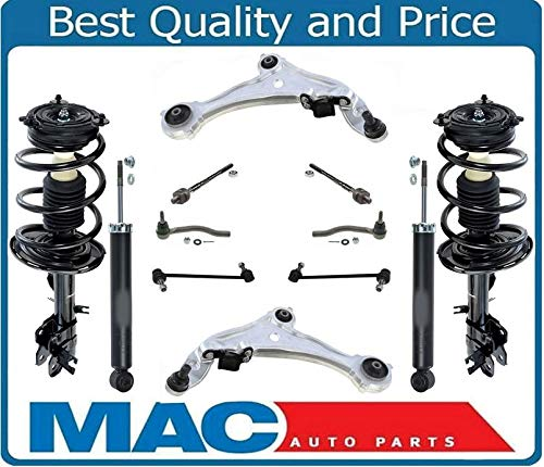 (Mac Auto Parts 158402 Front Complete Struts Rear Shocks Lower Control Arms Tie Rods & Links For 09-14 Murano)