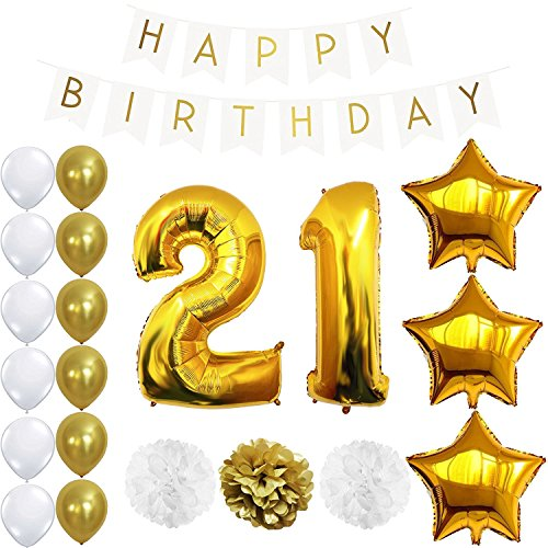12th or 21st Birthday Decorations Party Supplies Happy Birthday Banner, Giant 32'' Number Foil Balloon, 18'' Star Balloons, Pom Poms Gold and White, Free Inflator and Glue Dots (12 or (18' Happy Birthday Foil Balloon)