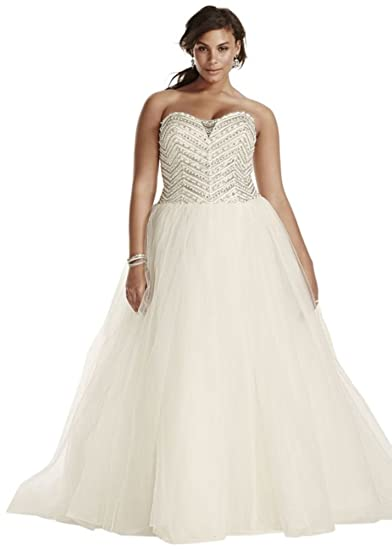 Jewel Tulle Plus Size Wedding Dress with Crystals Style ...