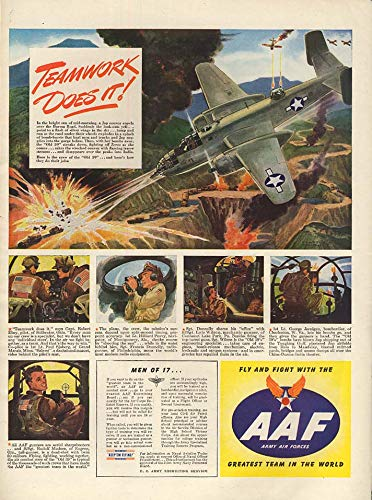 Teamwork Does it! Old 59 Mitchell B-25 Bomber over Burma Road AAF ad 1944 L