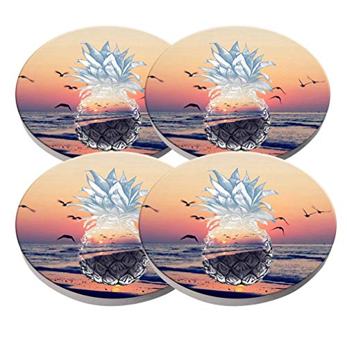 KristiPeterson Beach and Pineapple Custom Fashion Personalized Exquisite Ceramic Coasters 4 Pieces Sets Of Christmas ()