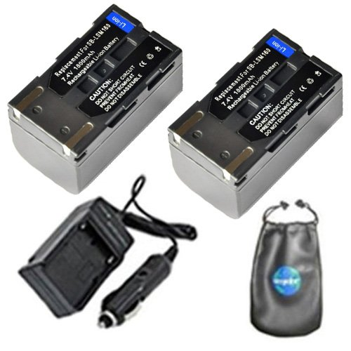 ValuePack (2 Count): Digital Replacement Digital Camera and Camcorder Battery PLUS Mini Battery Travel Charger for Samsung SB-LSM160, SC: D263, D351, D353, D362 - Includes Lens Accessories Pouch