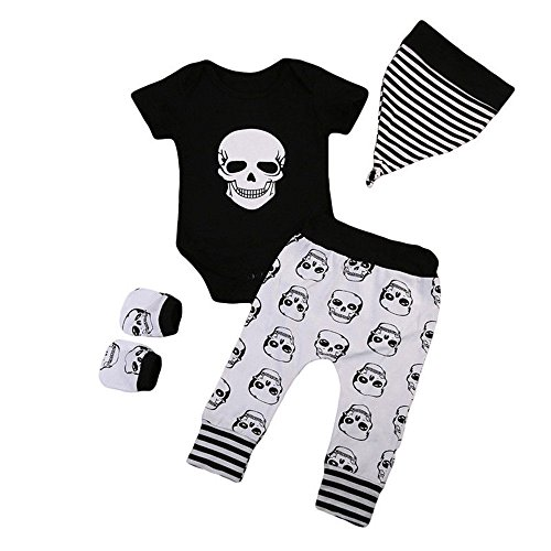 4Pcs Halloween Set Baby Skull Bone Print Romper+Pants+Hat+Gloves (12M, Black) ()