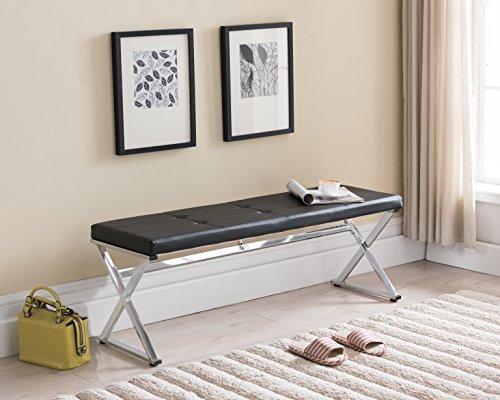 Black Tufted Bonded Leather / Chrome Finish Frame X-Design Entryway Bedroom (Chrome Leather Bench)