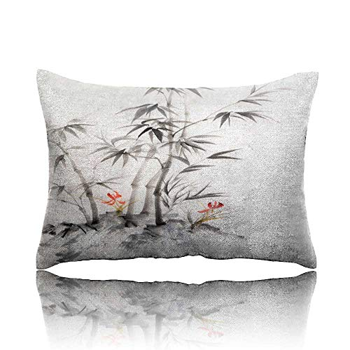 Pillow Watercolor Painting of Bamboo and Orchids Toddler Pillow 14