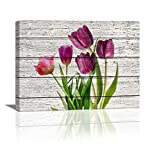 artwork for home  Tulip Wall Art for Bedroom, 1 Panel Modern Flowers Canvas Prints Wood Board Background, Rustic Canvas Wall Art Home Decor Artwork Wall Decor for Living Room Ready to Hang Size :12X16 inch
