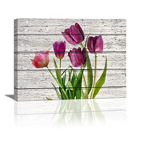 HUADAOART Tulip Wall Art for Bedroom, 1 Panel Modern Flowers Canvas Prints Wood Board Background, Rustic Canvas Wall Art Home Decor Artwork Wall Decor for Living Room Ready to Hang Size :12X16 inch -