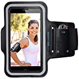 "SmartOmni Sport Armband with Adjustable Length Band + Key Slots for iPhone 6S/6/5C/5S,iPod MP3 Player and Most Of 4.7"" Devices(Black).For Gym Bike Jogging Running Or Any Fitness Activity."