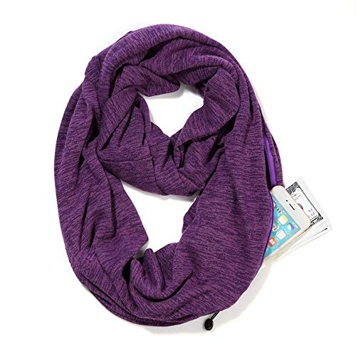 Scarves for Women,Girls,Ladies Infinity Scarf with Zipper Pocket Soft Stretchy Lightweight Wrap ()