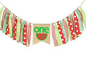 HighChair Banner for 1st Birthday - First Birthday Decorations for Photo Booth Props, Birthday Souvenir and Gifts for Kids, Best Party Supplies (Watermelon Party Supplies)