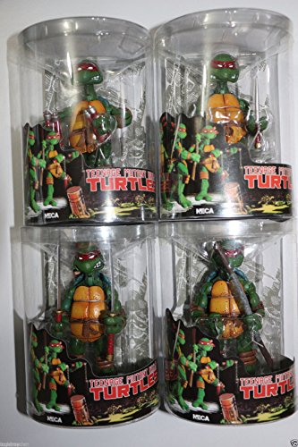Sealed 4 PCS NECA TMNT Teenage Mutant Ninja Turtles RED Headband Toy Action Figures Gift Collectible Toy in Box ()