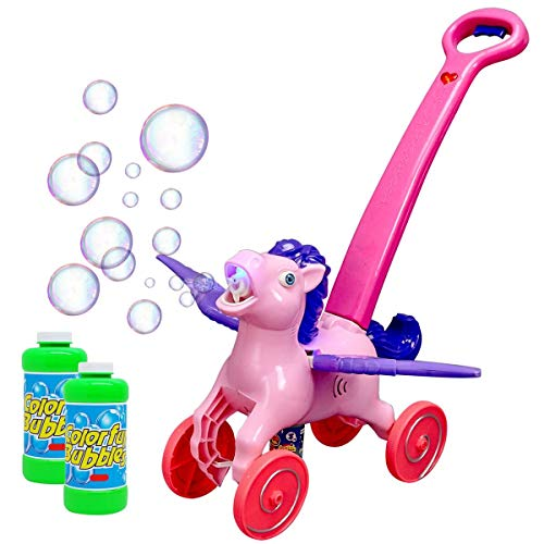 Automatic Bubble Machine Toy For Kids - Horse Walker Blows Bubbles Out Of Mouth, Plays Music And Lights Up As You Push It – 2 Bubble Solution Bottles Included - Bubble Blower by MotoWorx