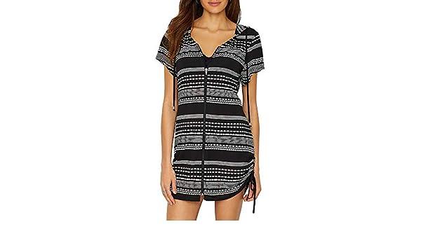 10ee9400f5 Amazon.com: Dotti Women's Ibiza Stripe Side Shirred Hoodie Tunic Cover-Up:  Dotti: Clothing