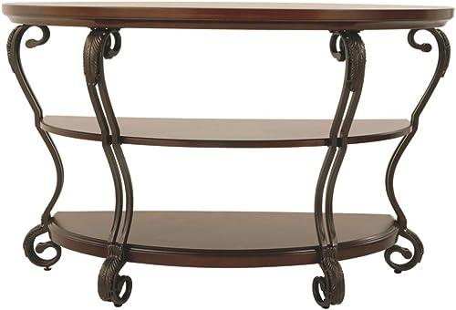 Signature Design by Ashley – Nestor Traditional Semi-Circle Sofa Table w Two Shelves, Medium Brown