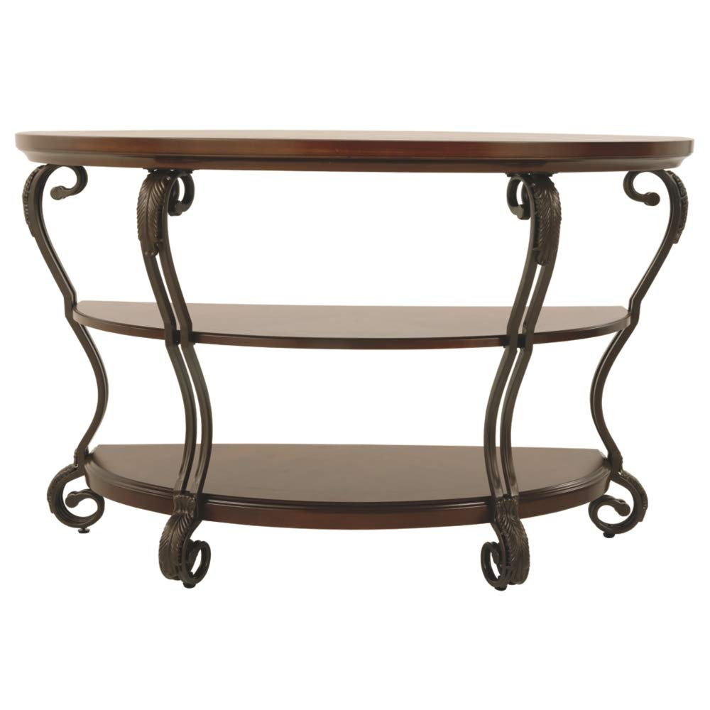 Ashley Furniture Signature Design - Nestor Sofa Table - 2 Shelf - Semi Circle - Medium Brown by Signature Design by Ashley