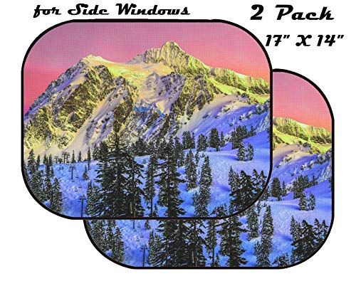 (MSD Car Sun Shade for Side Window - UV Protector for Baby and Pet - Block Sunlight - Image of Snow Winter Mountain Cold Nature Peak Blue White Landscape Tree)