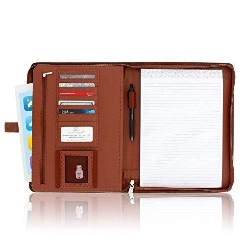 Letter Writing Case - Zippered Leather Business Portfolio Padfolio - Professional Light Brown Faux Leather Portfolio Binder & Organizer Folder with 10.5 Inch Tablet Sleeve by Lautus Designs
