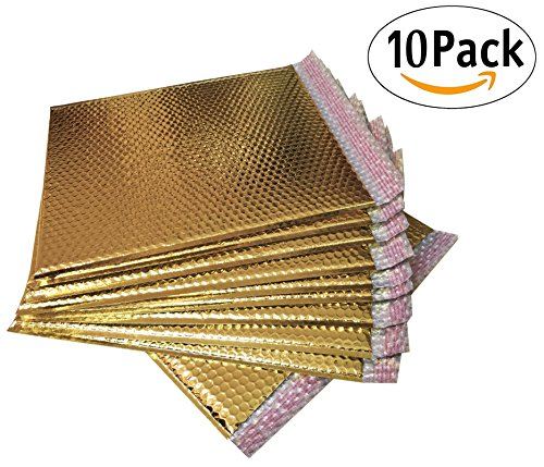 20 Pack Metallic Bubble mailers 7 x 6.75. Gold padded envelopes 7 x 6 3/4. Glamour bubble mailers Peel & Self Sealing cushion packaging mailers. Poly mailing packing wrapping shipping envelopes. by ABC Pack & Supply