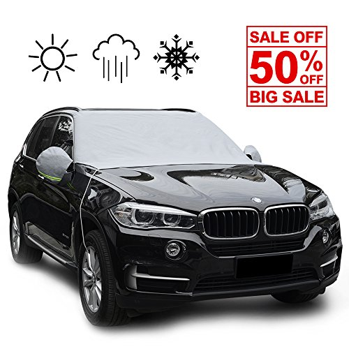 "NOSNOW Car Windshield Snow Cover,with Winter Ice,Frost Full Protection,Extra Large & Thick Windproof Design,83.4""x48""Fit for Most Vehicles"