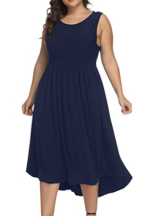 10a85fcf8bd Allegrace Women Plus Size Sleeveless Casual Cocktail Dress Pleated Party  Long Dresses Dark Blue 1X