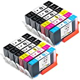 MS Deer HP564XL Ink 12 Pack Compatible Cartridge Ink Replacement for Inkjet Printer 5510 5520 6510 6520 (4 Black, 2 Photo Black, 2 Cyan, 2 Magenta ,2 Yellow)